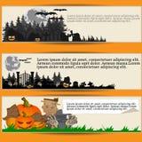 Sistema de tres banderas de Halloween Ilustración del Vector