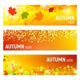 Sistema de tres banderas del vector con las hojas de otoño coloridas y de círculos en un fondo anaranjado Banderas del otoño con  Fotos de archivo
