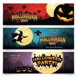 Sistema de tres banderas de Halloween stock de ilustración