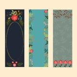 Sistema de tres banderas verticales con los elementos florales Imagen de archivo