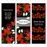 Sistema de tres banderas verticales Flor Lugar para su texto Foto de archivo
