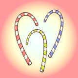 Sistema de tres bastones de caramelo Imagen de archivo libre de regalías