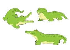 Sistema de tres cocodrilos stock de ilustración