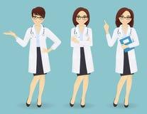 Sistema de tres doctores de sexo femenino en diversas actitudes Fotos de archivo