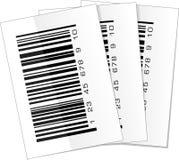 Sistema de tres etiquetas de código de barras Fotos de archivo