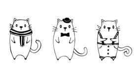 Sistema de tres gatos divertidos del bosquejo Imagen de archivo libre de regalías