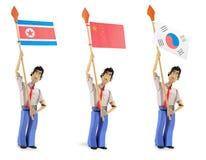 Sistema de hombres de papel que sostienen banderas asiáticas Imagenes de archivo