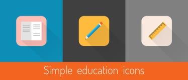 Sistema de tres iconos temáticos de la educación del vector Imagen de archivo libre de regalías