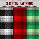 Sistema de tres muestras de la tela escocesa de tartán en vector Fotos de archivo