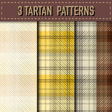 Sistema de tres muestras de la tela escocesa de tartán en vector Imagenes de archivo