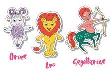 Sistema de tres muestras del zodiaco - aries, leo, sagitario libre illustration