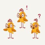 Sistema de tres pájaros amarillos Fotografía de archivo libre de regalías