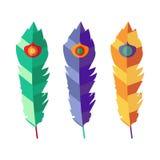 Sistema de tres plumas coloridas planas Imagen de archivo libre de regalías