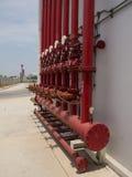 sistema de tubería de abastecimiento de agua de la lucha contra el fuego Foto de archivo libre de regalías
