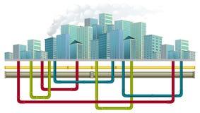 Sistema de tubo de agua subterránea stock de ilustración