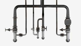 Sistema de tubos viejos, oxidados y de válvulas aislados en el fondo blanco Foto de archivo