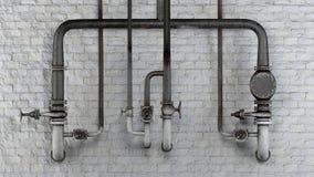Sistema de tubos y de válvulas viejos, oxidados contra la pared de ladrillo clásica blanca Fotos de archivo