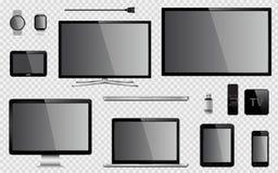 Sistema de TV realista, monitor de computadora, ordenador portátil, tableta, teléfono móvil, reloj elegante, memoria USB, disposi stock de ilustración