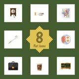 Sistema de un día del icono plano de reloj, de Fried Egg, de almuerzo y de otros objetos del vector También incluye el tiempo, ro Foto de archivo