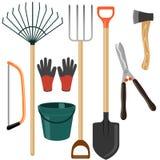 Sistema de utensilios de jardinería en el fondo blanco Ilustración del Vector