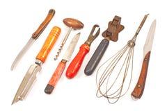 Sistema de utensilios de la cocina del vintage aislados en blanco Foto de archivo libre de regalías
