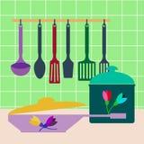 Sistema de utensilios, de potes y de cacerolas de la cocina Vector Imagen de archivo libre de regalías