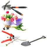 Sistema de utensilios de jardinería aislados en el fondo blanco collage libre Imagen de archivo libre de regalías