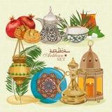 Sistema de utensilios viejos árabes tradicionales stock de ilustración