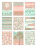 Sistema de vacaciones de verano y de los carteles de las vacaciones o de la tarjeta de felicitación tropicales Imagenes de archivo