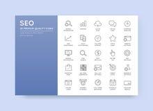 Sistema de vector SEO Search Engine Optimisation Elements y de iconos stock de ilustración