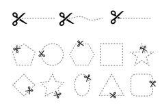 Sistema de vectores de las tijeras con las cupones cortadas de diversas formas geométricas Foto de archivo libre de regalías
