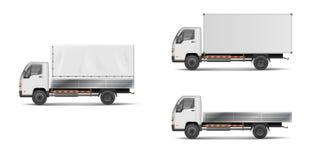 Sistema de vehículos de cargo blancos realistas vector el ejemplo con el camión pesado, remolque, camión, furgoneta de entrega ca stock de ilustración