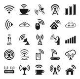 Sistema de veinticinco iconos del wifi Foto de archivo