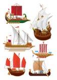 Sistema de veleros del vintage stock de ilustración