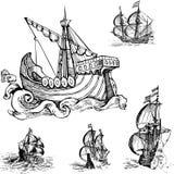 Sistema de veleros viejos Foto de archivo