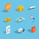Sistema de venta y de los iconos isométricos planos que hacen compras 3d Illustr del vector Imagen de archivo