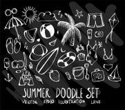 Sistema de verano de la colección del dibujo del garabato del vector en backgrou negro Fotografía de archivo