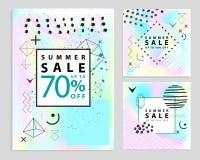 Sistema de verano y de banderas finales de la venta cuadrado Estilo de Memphis Ilustración del vector Formas geométricas simples Fotos de archivo libres de regalías