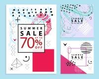 Sistema de verano y de banderas finales de la venta cuadrado Estilo de Memphis Ilustración del vector Formas geométricas simples Fotografía de archivo