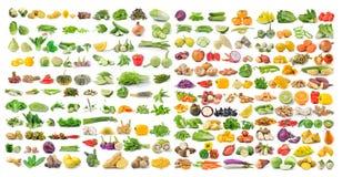 Sistema de verdura y de fruta aisladas en el fondo blanco Foto de archivo libre de regalías