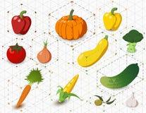 Sistema de verduras isométricas ilustración del vector