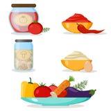 Sistema de verduras, de mayonesa, de salsa de chile y de comida enlatada label ilustración del vector