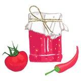 Sistema de verduras rojas y de un tarro con lecho Foto de archivo