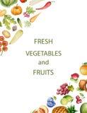Sistema de verduras y de frutas de la acuarela stock de ilustración