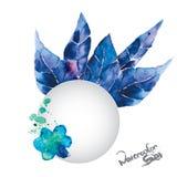 Sistema de Vetor de las hojas y de la flor fantásticas del azul Fotografía de archivo