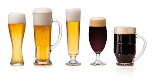 Sistema de vidrio de cerveza Imagenes de archivo
