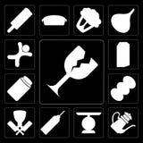 Sistema de vidrio, tetera, escala, aceite, carnicero, café, miel, leche, ilustración del vector
