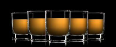 Sistema de vidrios clásicos del licor fuerte en negro Foto de archivo libre de regalías