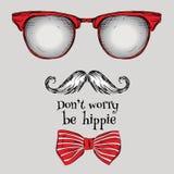 Sistema de vidrios del hippie, bigote, lazo Ilustración del vector Fotografía de archivo libre de regalías