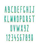 Sistema de volumen de letras y de números, hecho a mano Fuente del bosquejo Foto de archivo libre de regalías